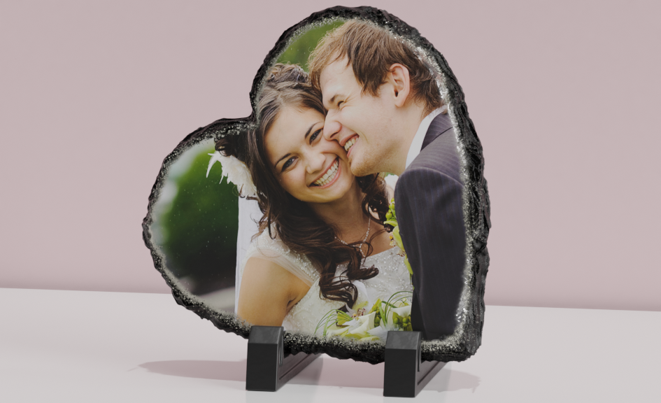 Photo on heart shaped slate
