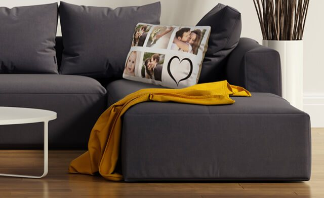 Photo cushion on sofa