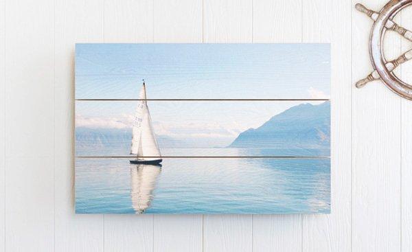 Pine wood panels in nautical setting