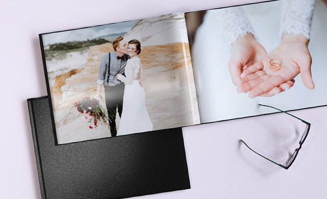 Faux leather photo book