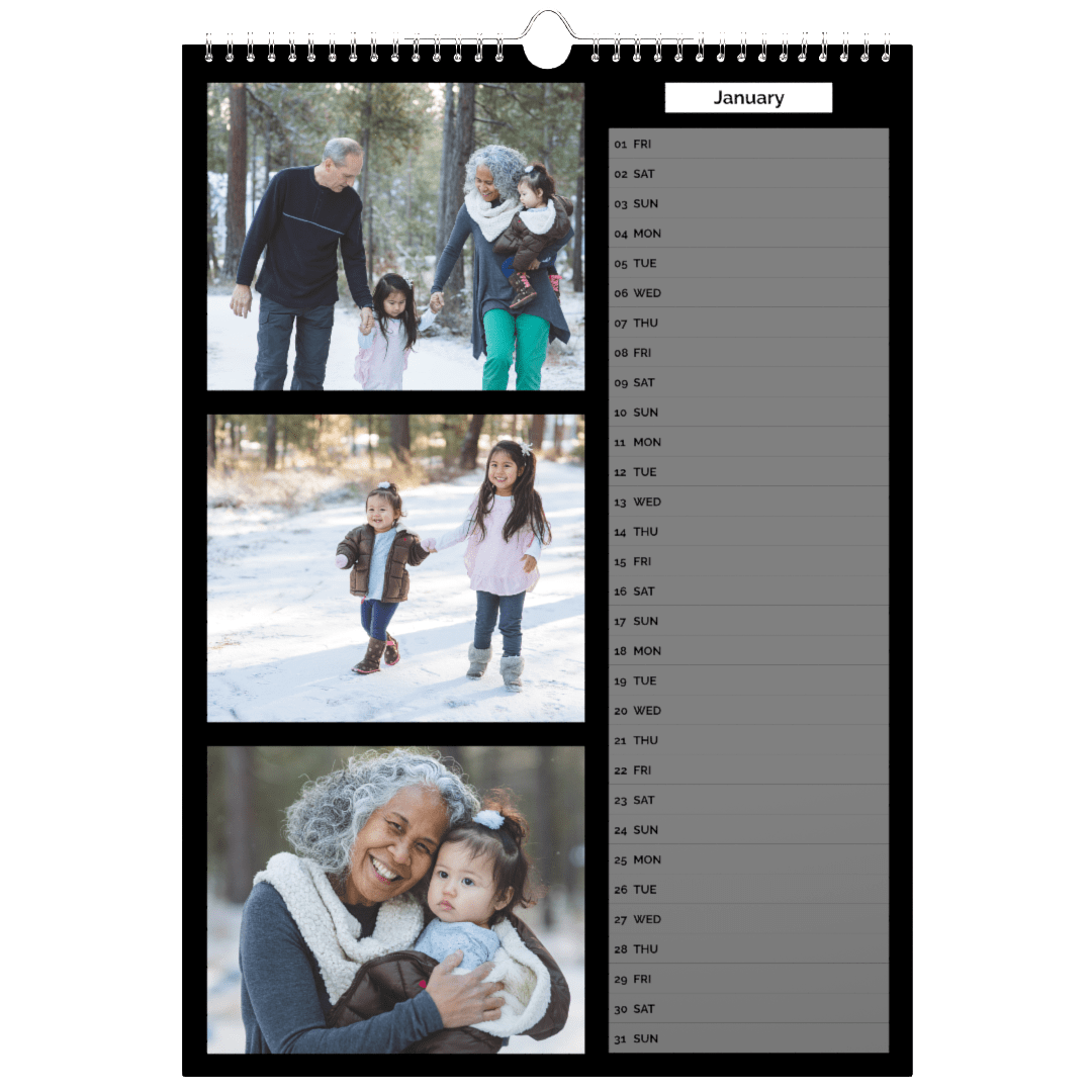 Personalised Wall Calendar with multiple photo slots