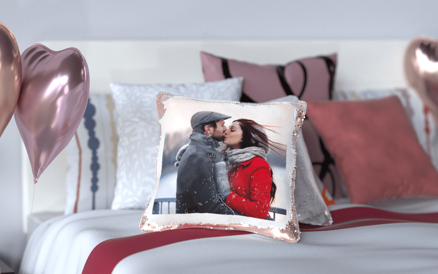 Sequin Reveal Photo Cushion