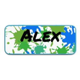 Thumbnail for Personalised Pencil Tins Blue with Paint Splatter design 1