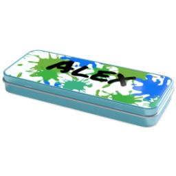 Thumbnail for Personalised Pencil Tins Blue with Paint Splatter design 2