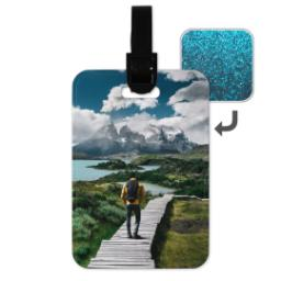 Thumbnail for Faux Leather Blue Glitter Luggage Tag with Full Photo design 1