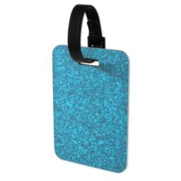 Thumbnail for Faux Leather Blue Glitter Luggage Tag with Full Photo design 3