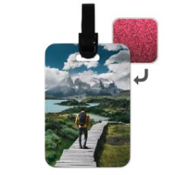 Thumbnail for Faux Leather Pink Glitter Luggage Tag with Full Photo design 1