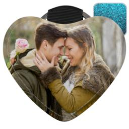 Thumbnail for Faux Leather Blue Glitter Heart Keyring with Full Photo design 1