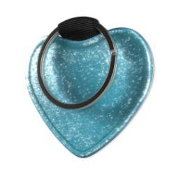Thumbnail for Faux Leather Blue Glitter Heart Keyring with Full Photo design 3