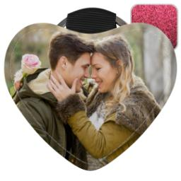 Thumbnail for Faux Leather Pink Glitter Heart Keyring with Full Photo design 1
